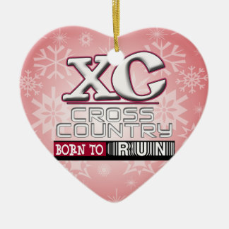 XC CROSS COUNTRY MOTTO BORN TO RUN MAROON CHRISTMAS ORNAMENT