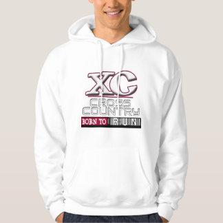 XC CROSS COUNTRY MOTTO BORN TO RUN MAROON HOODED SWEATSHIRT