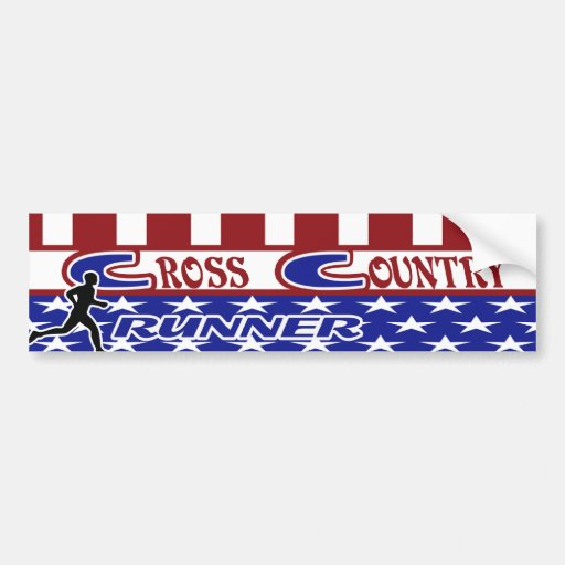 XC CROSS COUNTRY PATRIOTIC USA COLORS BUMPER STICKERS