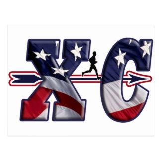 XC CROSS COUNTRY PATRIOTIC USA FLAG POSTCARD