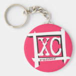 XC Cross Country Runner Basic Round Button Key Ring