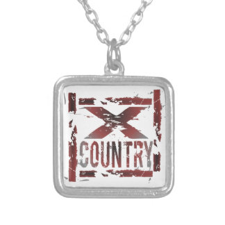 XC Cross Country Runner Silver Plated Necklace