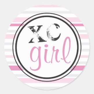 XC Girl Runners Cross Country Running Round Sticker