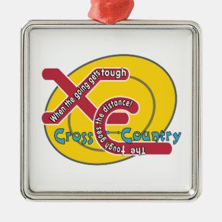 XC TOUGH MOTTO - CROSS COUNTRY Silver-Colored SQUARE DECORATION