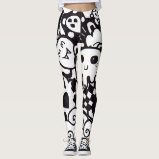 Xcape Doodle Black&White Leggings