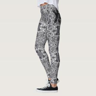 Xcape Paisley Print Black & White Legging