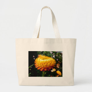 Xerochrysum bracteatum, Flower with added texture Large Tote Bag