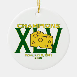 XLV 45 green and yellow champs football ornament