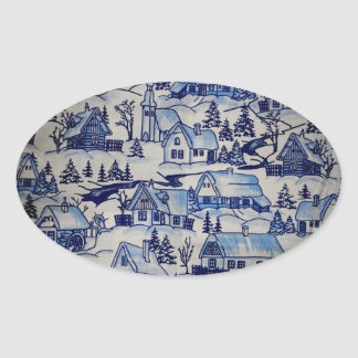 Xmas Antique Blue/White Vintage Holiday Village Oval Sticker