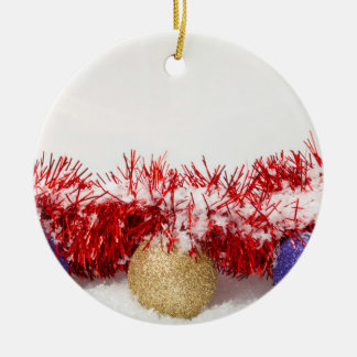 Xmas Baubles Tinsel Round Christmas Ornament