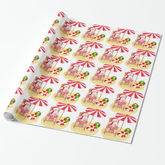xmas beach santa claus wrapping paper