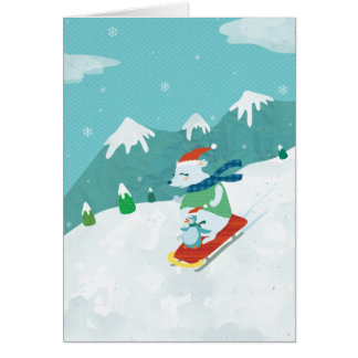 Xmas Bear and Penguin Notecard Stationery Note Card