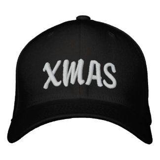 XMAS BLACK Brody White on Black Embroidered Hats