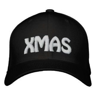 XMAS BLACK EMBROIDERED HAT