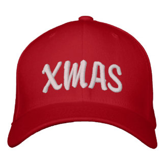 XMAS Brody White on Red Embroidered Hat