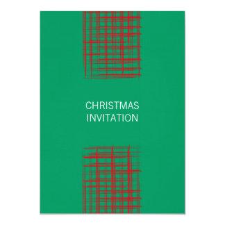Xmas Brush Checks green  Invitation