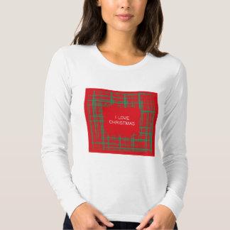 Xmas Brush Checks red Ladies Fitted Long Sleeve Shirt