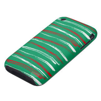 Xmas Brush Stripes green iPhone 3G Tough Tough iPhone 3 Covers