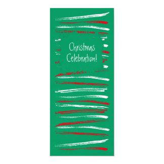 Xmas Brush Stripes green Long Invitation