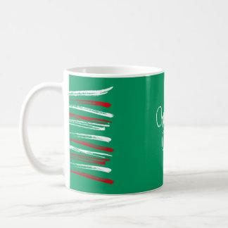 Xmas Brush Stripes green Mug