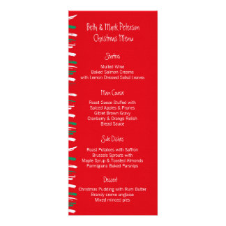 Xmas Brush Stripes red Dinner Menu Announcements