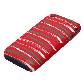 Xmas Brush Stripes red iPhone 3G Tough iPhone 3 Tough Cover