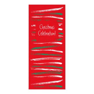Xmas Brush Stripes red  Long Invitation
