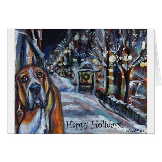 xmas card basset hound happy holidays