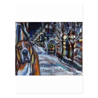 xmas card basset hound happy holidays postcard
