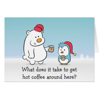 X'mas Cartoon - Polar Bear complains to Penguin Greeting Card