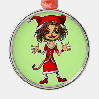 Xmas cat girl Silver-Colored round decoration