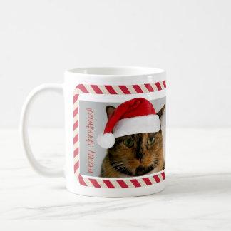 Xmas Cat in Santa Hat, Meowy Christmas! Mug