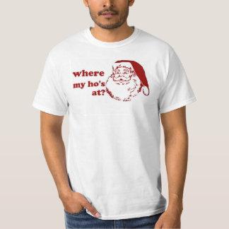 Xmas chrismas Where My Ho's santa funny humor T-Shirt