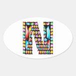 Xmas Deco ALPHABET Art Oval Stickers