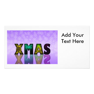 Xmas Design with Snowflakes Customized Photo Card