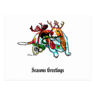Xmas Disability Hound Postcard