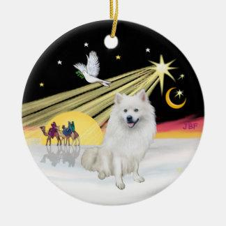 Xmas Dove - American Eskimo Dog Christmas Ornament