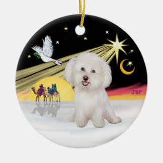 Xmas Dove - Bichon Frise #7 Christmas Ornament