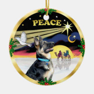 Xmas Dove (Peace) - German Shepherd # Christmas Ornament