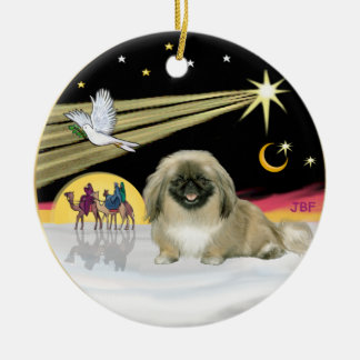 Xmas Dove - Pekingese (black mask) Round Ceramic Decoration