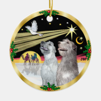 Xmas Dove - Two Irish Wolfhounds Christmas Ornament