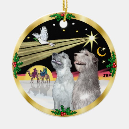 Xmas Dove - Two Irish Wolfhounds Christmas Ornament