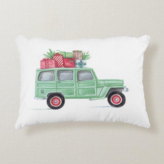 Xmas Family Truckster Decorative Cushion