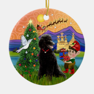 Xmas Fantasy - Black Standard Poodle Christmas Ornament