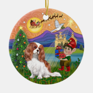 Xmas Fantasy-Blenhe Cavalier King Charles Spaniel Round Ceramic Decoration