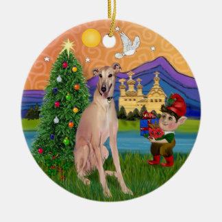 Xmas Fantasy - Fawn Greyhound (sitting) Christmas Ornament