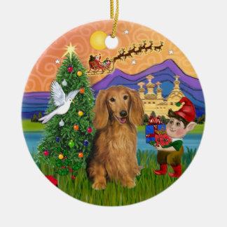 Xmas Fantasy -  Long Haired Sable Dachshund Christmas Ornament