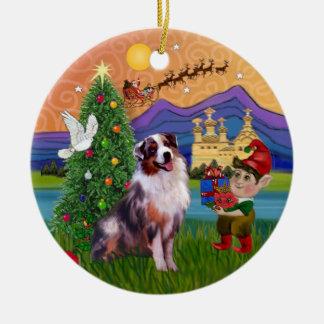 Xmas Fantasy - Merle Australian Shepherd Christmas Ornament