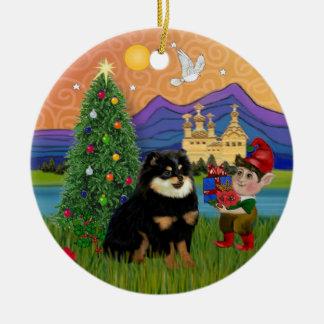 Xmas Fantasy - Pomeranian (black & tan) Christmas Ornament
