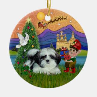Xmas Fantasy - Shih Tzu (black-white) Christmas Ornament